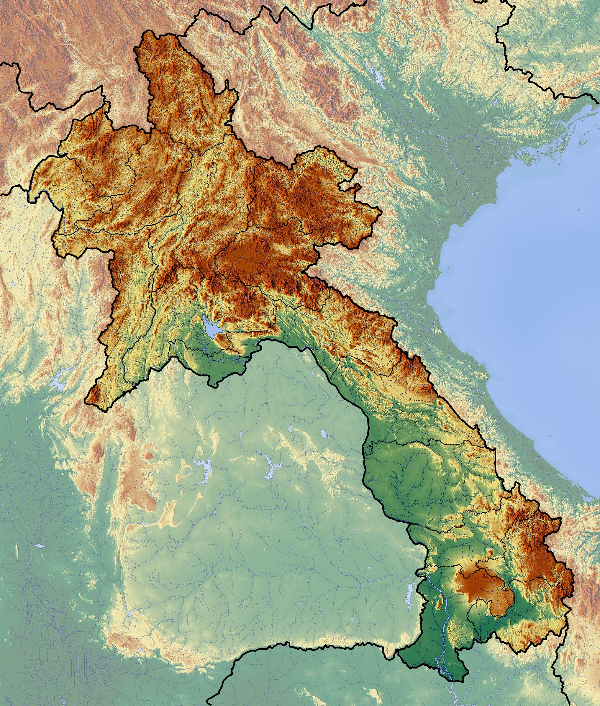 Topographic Map Asia.Laos Topographic Map Map Of Laos Topographic South Eastern Asia