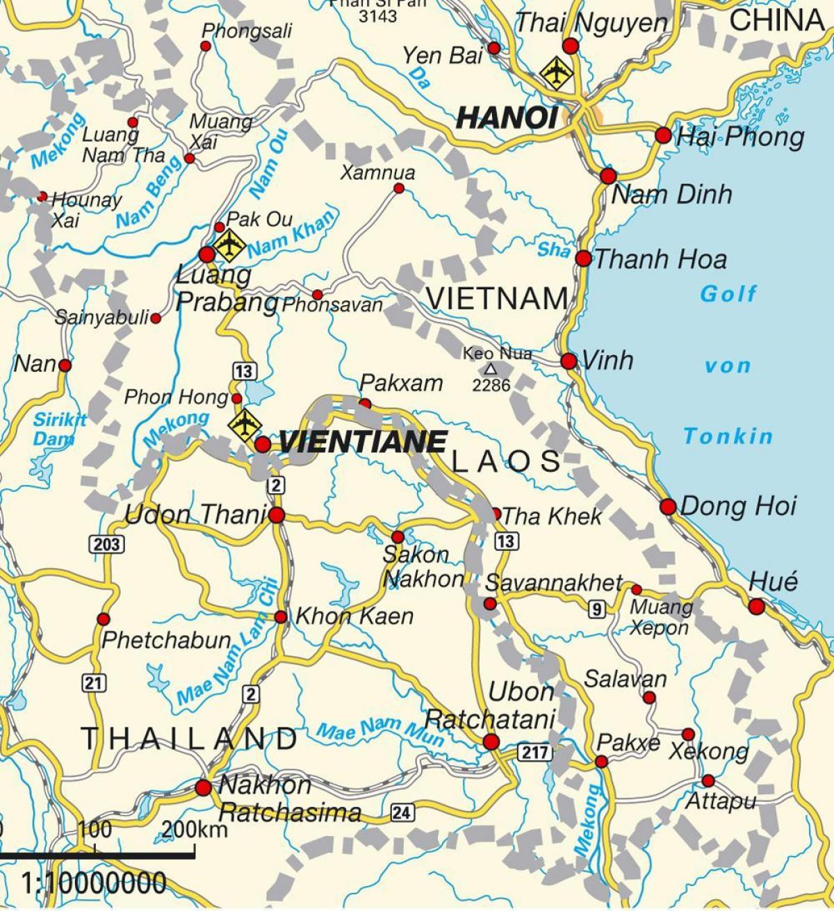 Laos Airports Map Airports In Laos Map South Eastern Asia Asia