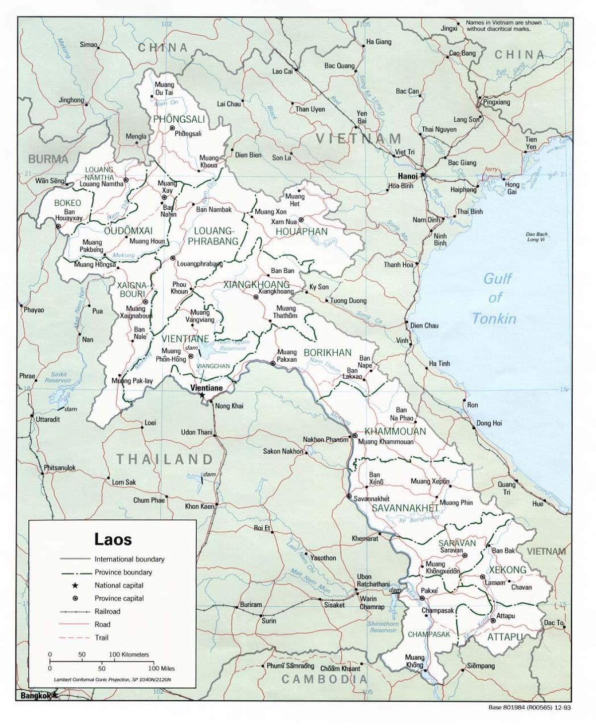 laos map with cities