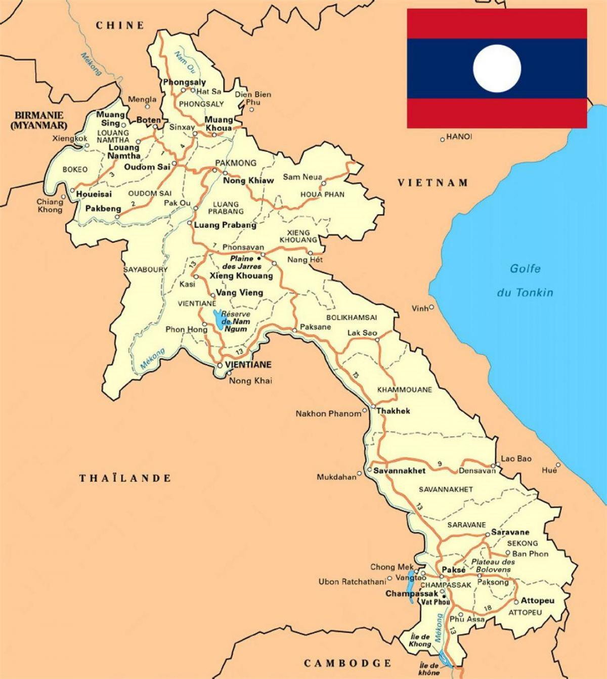 Laos map - Detailed map of laos (South-Eastern Asia - Asia)