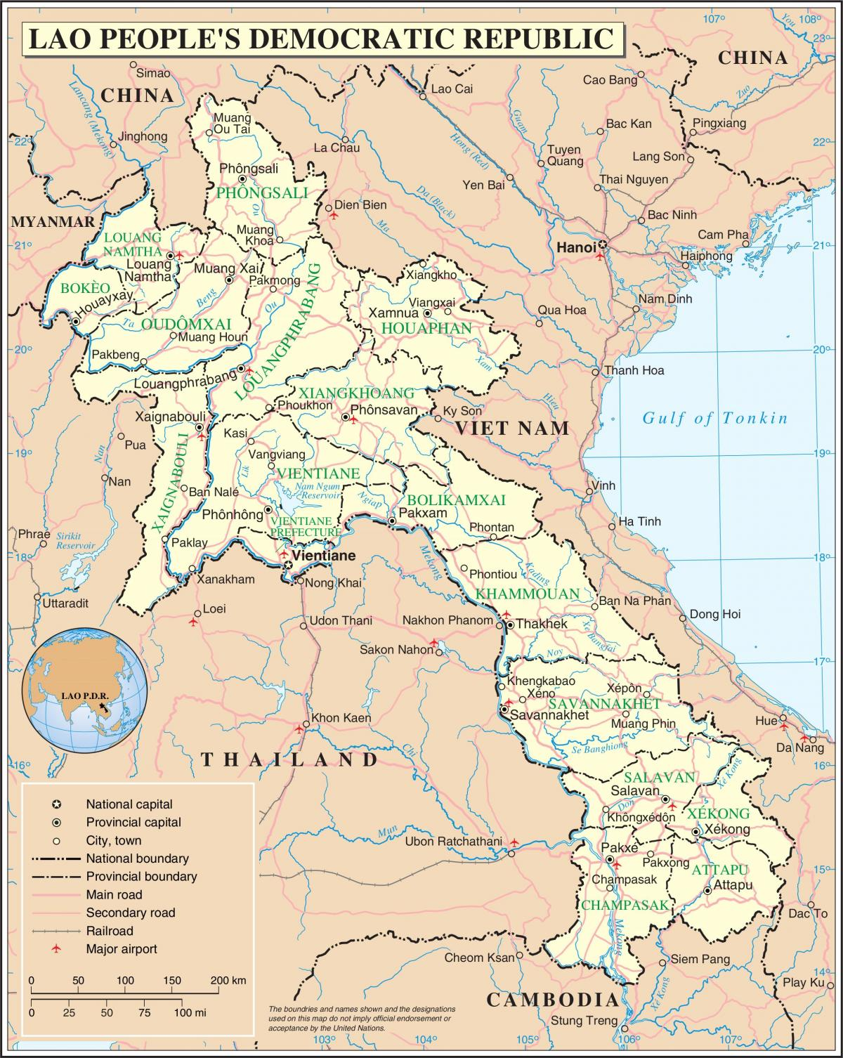Map of laos road